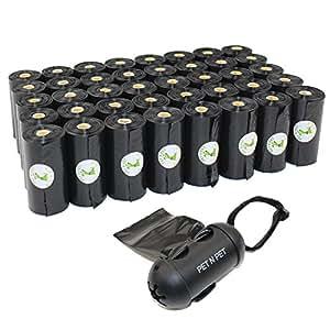 PET N PET 720 Counts Large Black Unscented Dog Pet Poop Waste Bags 40 Rolls with One Dispenser