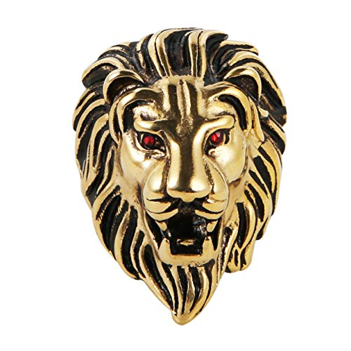 (HZMAN Men's Vintage 316L Stainless Steel Lion Ruby Eyes Rings Heavy Metal Rock Punk Style Gothic Biker Ring Silver Gold Black 3 Colors (Gold, 11) )