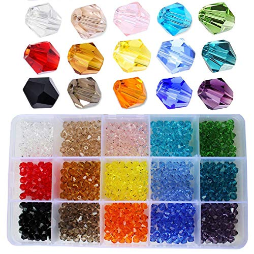 BALABEAD 6mm Bicone Faceted Crystal Glass Beads for Jewelry Making, DIY Beads for Bracelet 15 Colors Mix Lot in Box (Total 600pcs) - Faceted Glass Crystal Beads