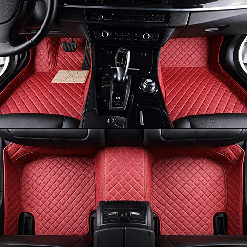 Unicozy Custom Car Floor Mat Front and Rear Liners All Weather for Land Rover Range Rover Evoque 2 Door 2012-2018(Red)