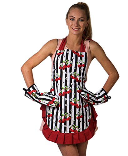 Sexy Cooking Apron for Women and Silicone Grid Oven Mitts Set