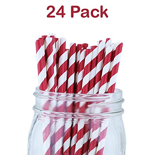 Drinking Straws Red Striped 7.75 Inches -Pack Of 24 - Party Drinking Straws - Biodegradable Straws For Parties, Birthdays, Weddings, Christmas, Celebrations, Festivals – By (Paper Pizazz Papers Accents)