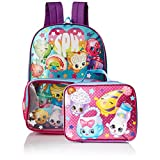 Shopkins Girls' Backpack with Lunch Window Pocket, Blue