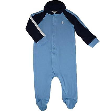 Ralph Lauren bebé niño Rugby Pelele traje azul claro azul oscuro blanco Polo Jinete (74