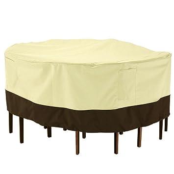 SOLEDI Veranda Terrasse Tisch U0026 Stuhl Abdeckung Für Runden Gartentisch  Gartemöbel Staubschutz Regenschutz UV Schutz PVC