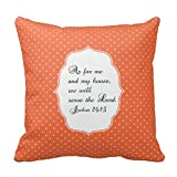 Orange White Dots Joshua 24 15 Bible Verse Pillow Case