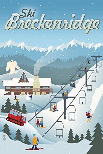 Ski Breckenridge, Colorado - Retro Ski Resort 77390 (12x18 SIGNED Print Master Art Print - Wall Decor Poster)
