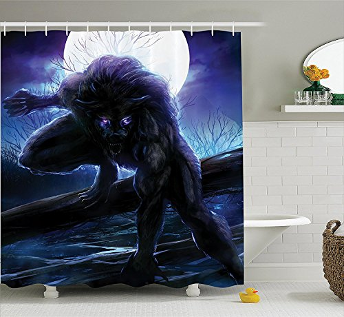 [FantasyWorld Decor Shower Curtain Set Surreal Werewolf With Electric Eyes In Full Moon Transformation Folkloric Decor Bathroom Accessories Purple Blue] (Custom Werewolf Costumes For Sale)