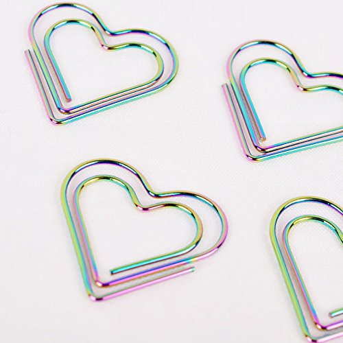 Funnylive Hot Plating Color Beautiful Rainbow Love Bookmarks Dazzle Beautiful DIY Paper Clips,12 Pieces per Box