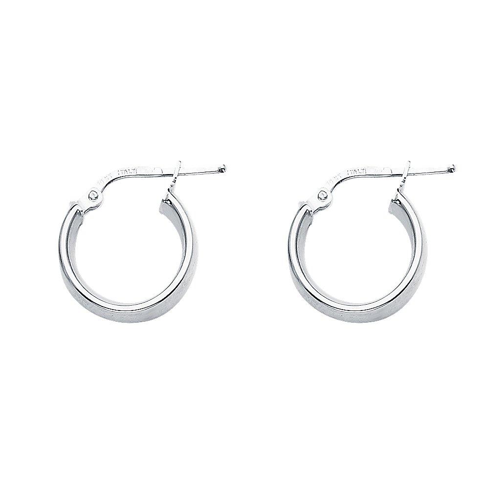 13mm X 13mm 14k White Gold Basic Hollow Hoop Earrings,