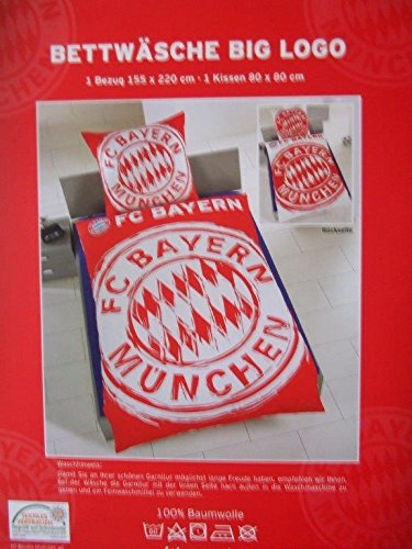 FC Bayern München Bettwäsche, Achtung! Übergröße! 1 Kissenbezug mit den Maßen 80 x 80 cm und 1 Bettbezug mit den Maßen 155 x 220 cm ÜBERGRÖßE mit Knopfleiste
