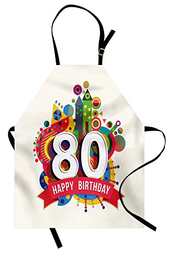 Ambesonne 80th Birthday Apron, Happy Birthday Ribbon with Geometrical Castle Boat and Shapes Image Print, Unisex Kitchen Bib Apron with Adjustable Neck for Cooking Baking Gardening, Multicolor