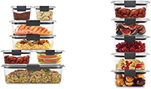 Rubbermaid Brilliance Storage 14-Piece Plastic Lids | BPA Free, Clear & Leak-Proof Brilliance Food Storage Set | 1.3 Cup Plastic Containers with Lids | Microwave and Dishwasher Safe, 5-Pack, Clear