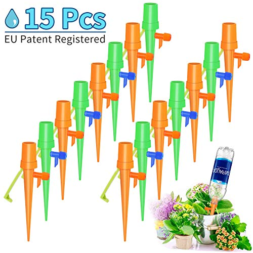 ([Upgrade] Plant Watering Devices- 15 PCS Self Watering Spikes, Automatic Plant Waterer, Irrigation Drippers with Slow Release Control Valve Switch for Flower beds, Vegetable Gardens, Lawn)