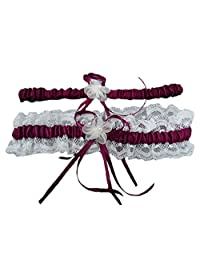 5 Color One Set Hot Women Stain Peal Lace Floral Wedding Garter Bridals Belt 2 Pieces Pink