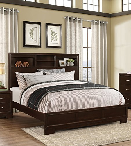Roundhill Furniture Montana Modern 5-Piece Wood Bedroom Set with Bed, Dresser, Mirror, Nightstand, Chest, Queen, Walnut - bedroomdesign.us