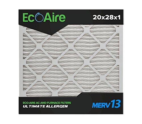 Eco-Aire 20 x 28 x 1 Premium MERV 13 Pleated Air Conditioner Filter, Box of 6