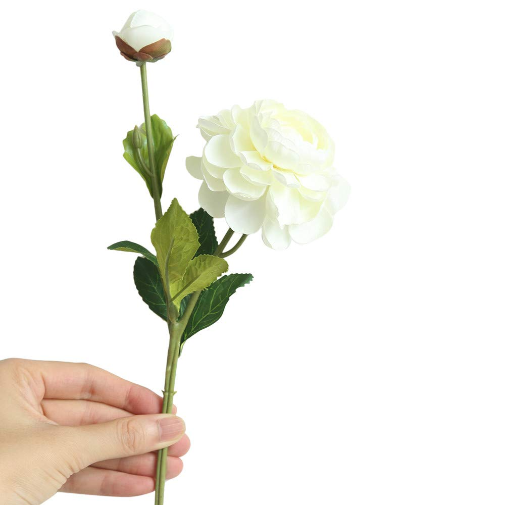 Artificial Flowers,Longay Artificial Fake Western Rose Flower Peony Bridal Bouquet Wedding Home Decor (White)