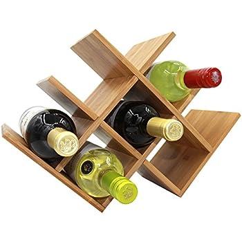 Autree Natural Bamboo Wine Rack 8 Bottles Countertop