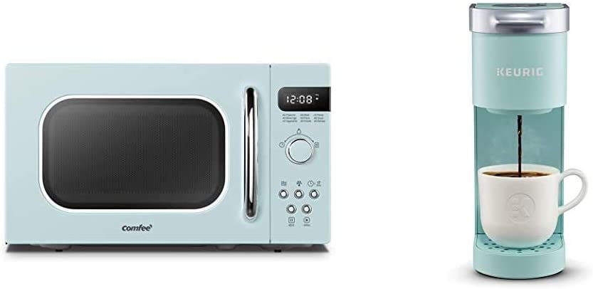 COMFEE' Retro Countertop Microwave Oven with Compact Size, Position-Memory Turntable, 0.7Cu.ft/700W, Pastel Green, AM720C2RA-G & Keurig K-Mini Coffee Maker, 6 to 12 oz. Brew Sizes, Oasis