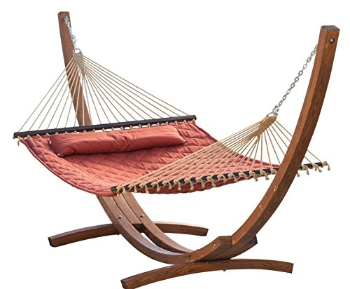 Prugist TropiRest 13 ft. Sienna Diamond Stitch Quilted Hammock with Russian Pine Stand