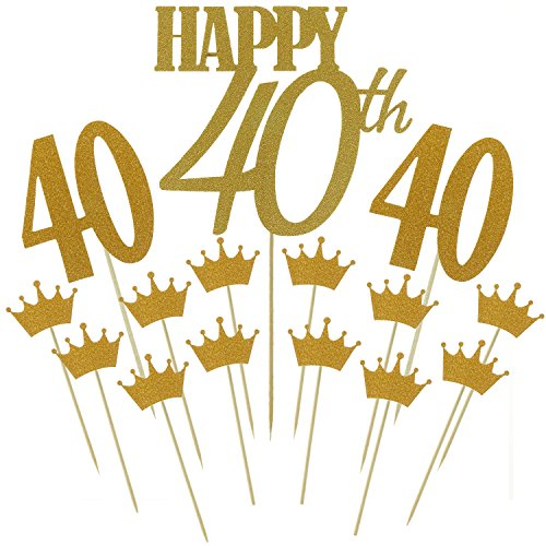 Shxstore Gold Monogram Happy 40th Cake Topper Glitter Crown Cupcake Picks For Anniversary Birthday Party Decoration Supplies (40 Year Old Party Decorations)