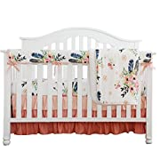 Boho Coral Feather Floral Ruffle Baby Minky Blanket Peach Floral Nursery Crib Skirt Set Baby Girl Crib Bedding Feather Blanket (Feather Floral 4pc set)