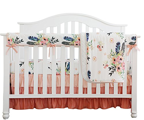 Boho Coral Feather Floral Ruffle Baby Minky Blanket Peach Floral Nursery Crib Skirt Set Baby Girl Crib Bedding Feather Blanket (Feather Floral 4pc Set) from Sahaler