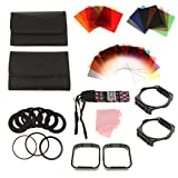 Baosity 24 Pieces Complete ND Filter Kit ND2, ND4, ND8, ND16 Filters for Cokin P Series with 9 x Adaptors Ring & 2 Square Filter Holder + + 2 Lens Hood + 12 Slots Pocket