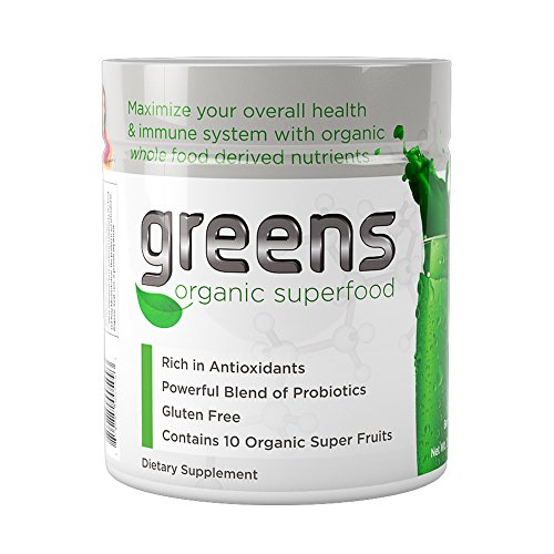 Organic Super Greens   USDA Organic Green Superfood Natural Powder Drink   Berry Flavor with Probiotics, Antioxidants, Spirulina, Chlorella, Barley Grass   Vegan + Gluten Free   Made in The USA