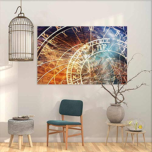 Abstract Oil Paintings Sticker Astrology Travel Decor Ancient Old Town Prague Horoscope Clock Czech Republic Art Print On Canvas Abstract Artwork Multicolor W47 xL31