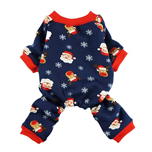 Fitwarm Christmas Santa Thermal Dog Pajamas Pet Clothse Fleece Coat Jumpsuit Blue Large