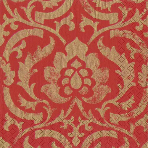 Cocktail Napkins Party Supplies Entertaining Christmas Party Holiday Party Red Baroque Pk ()