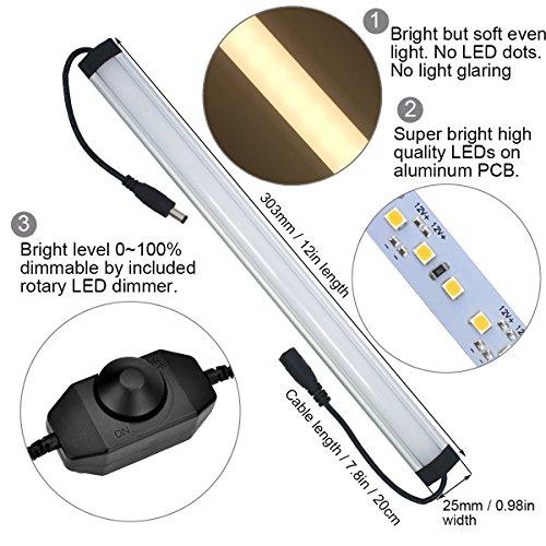 Under Cabinet LED Lighting Kit Plug in,6 pcs 12 Inches Cabinet Light Strips, 31W, 2000 Lumen, Super Bright, for Kitchen Cabinets Counter, Closet, Shelf Lights,Warm White 3000K-[6-Bars Kit-3000K] by Litever (Image #4)