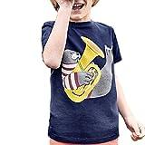 Toddler Kids Baby Boys Girls Clothes Short Sleeve Cartoon Tops T-Shirt Blouse Dark Blue