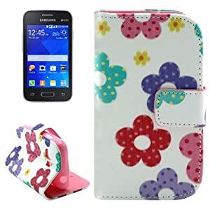 Flowers Color Pattern Leather Funda & Holder Case Cover con bolsillos internos para & Wallet Galaxy Young G130 2 /