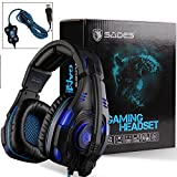GW SADES SA907 Virtual 7.1 channel USB Wired Surround Sound Over Ear Stereo Gaming Headset Headband Headphones with Hifi Mic Multi-function Control Cool Blue LED Lighting with Two Modes(Black)