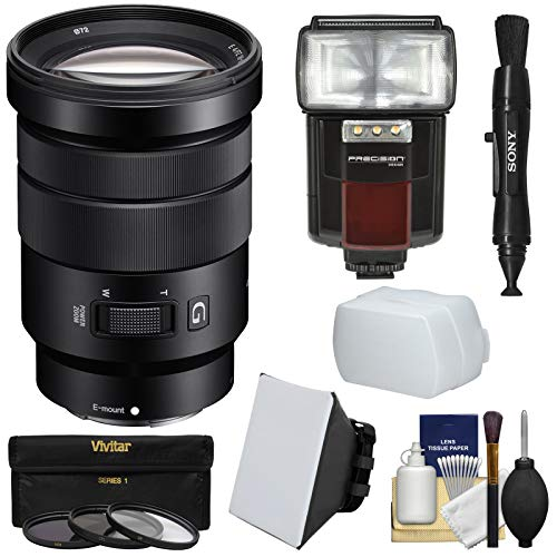 Sony Alpha E-Mount 18-105mm f/4.0 OSS PZ Zoom Lens + Flash + Soft Box + Diffuser + 3 Filters Kit for A7, A7R, A7S Mark II, A5100, A6000, A6300 Camera