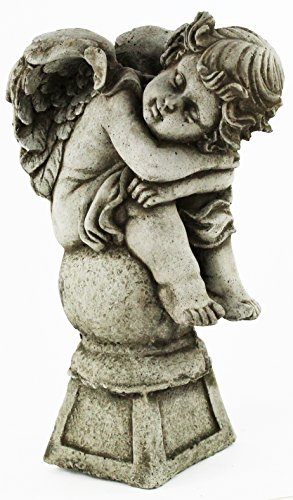 Angel on Pedestal Statue Home and Garden Statues Cement Religious Figure Cherub Sculpture Catholic Figurines Statues