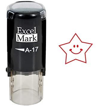 amazon com round teacher stamp happy star red ink stamp only