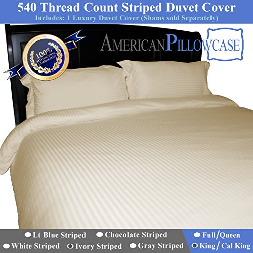 Earth Duvet Cover Set (American Pillowcase 100% Egyptian Cotton Luxury Striped 540 Thread Count Duvet Cover with Wrinkle Guard - King/California King, Ivory)