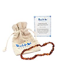 Baltic Amber Teething Necklace For Babies (Unisex) (Cognac) - Anti Flammatory, Drooling & Teething Pain Reduce Properties - Natural Certificated Oval Baltic Jewelry with the Highest Quality Guaranteed BOBEBE Online Baby Store From New York to Miami and Los Angeles