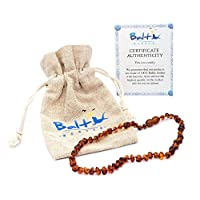 Baltic Amber Teething Necklace For Babies (Unisex) (Cognac) - Anti Flammatory...