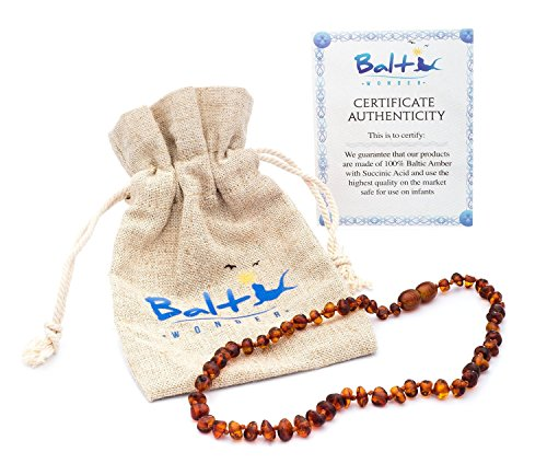 Baltic Amber Teething Necklace For Babies (Unisex) (Cognac) - Anti Flammatory, Drooling & Teething Pain Reduce Properties - Natural Certificated Oval Baltic Jewelry with the Highest Quality (Long Baltic Amber Necklace)