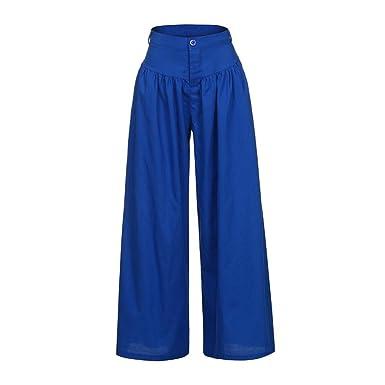 Cinnamou Pantalones Largos de Las Mujeres,Talla Grande Pantalones Anchos de Las piernas amplias Pantalones Fiesta de la Cintura Alta más tamaños