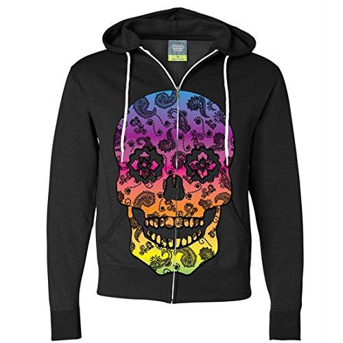 Skull Zip Fleece (Dolphin Shirt Co Neon Paisley Print Sugar Skull Zip-up Hoodie - Black X-Large)