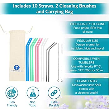 """12 Pack Bend Colorful Reusable Drinking Straws Silicone Reusable Straws BPA Free 10/"""" Regular Size Flexible Straws with Cleaning Brushes Storage Bag for 30oz 20oz Tumblers"""