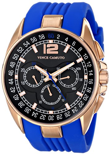 Vince Camuto Men's VC/1052BLRG The Traveler Rose Gold-Tone Multi-Function Blue Silicone Strap Watch
