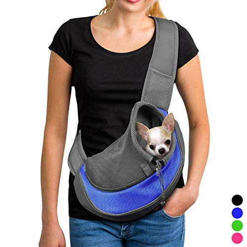 - YUDODO Pet Dog Sling Carrier Breathable Mesh Travel Safe Sling Bag Carrier for Dogs Cats (S up to 5lbs Blue)