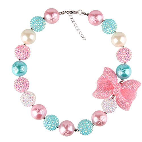 (Bewish Girls Womens Chunky Colorful Candy Beads Bowknot Bubblegum Choker Necklace)